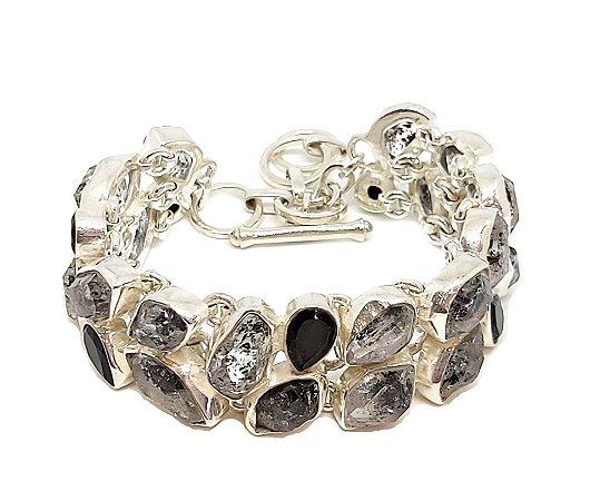 Pulseira em prata 925 com pedras naturais cristal rutilado e onix