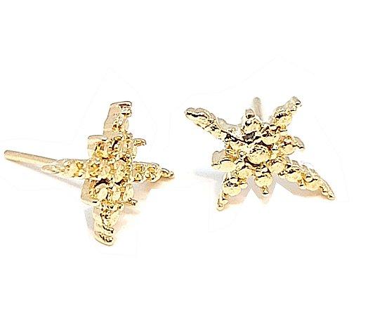 Brinco De Ouro 18k Amarelo Modelo Estrela 8 pontas