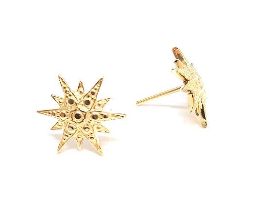 Brinco de Ouro 18k Amarelo  Estrela 12 Pontas