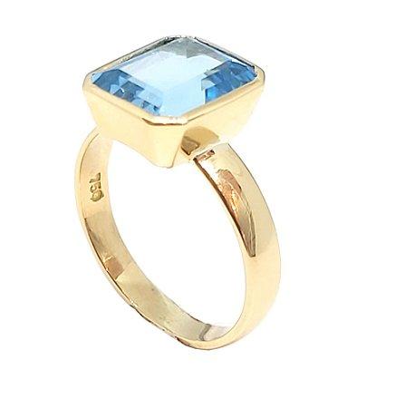 Anel em ouro 18k com pedra natural topázio azul