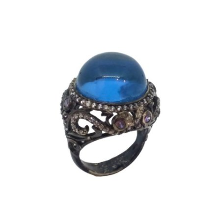 Anel de Prata 925 com Ródio Negro e Espinélio Azul