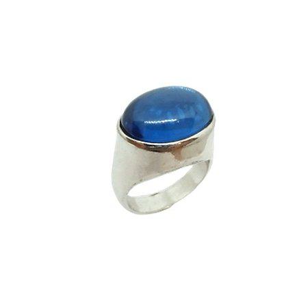 Anel de Prata 925 com Espinélio Azul