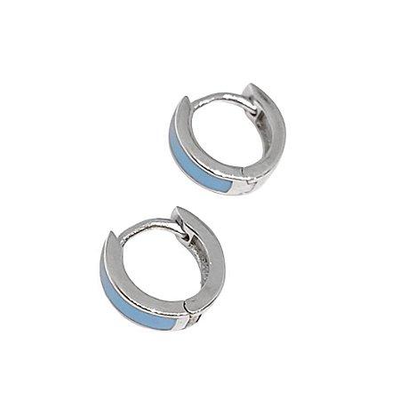 Argola de Prata 925 com Esmaltação Azul