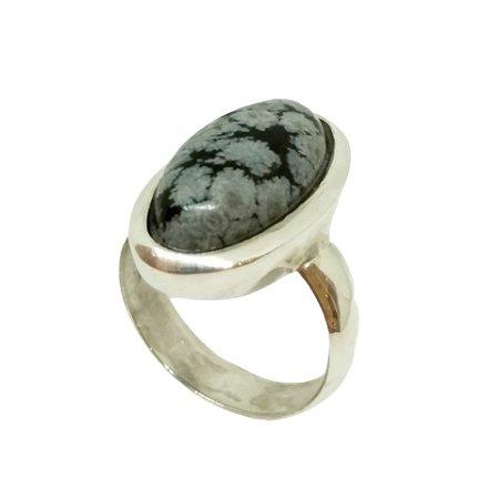 Anel de Prata 925 com Obsidiana