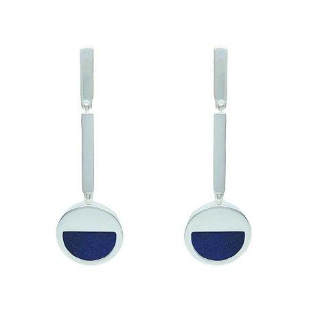 Brinco de Prata 925 com Quartzo Azul