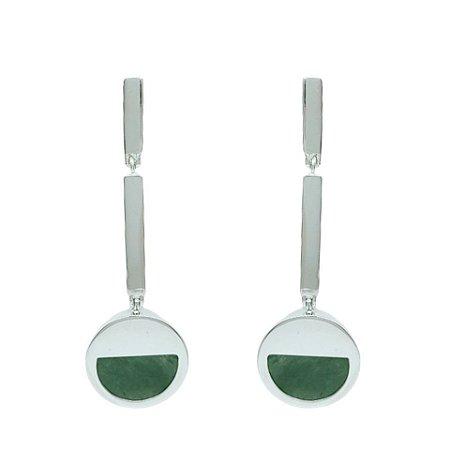 Brinco de Prata 925 com Quartzo Verde