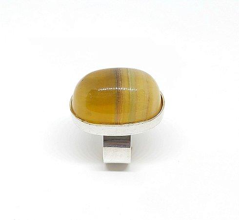 Anel de Prata 925 com Fluorita
