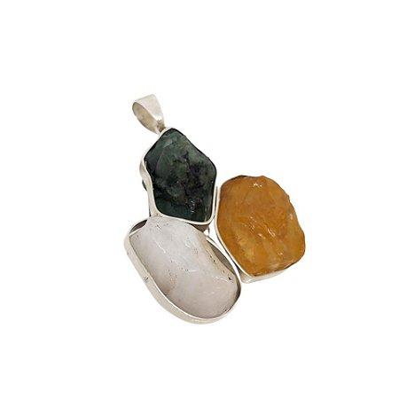 Pingente de Prata 925 com Esmeralda, Citrino e Cristal