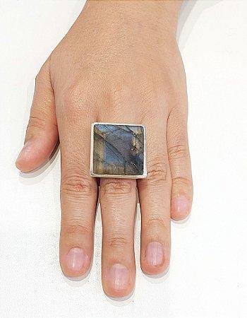 Anel de Prata 925 com Labradorita Natural