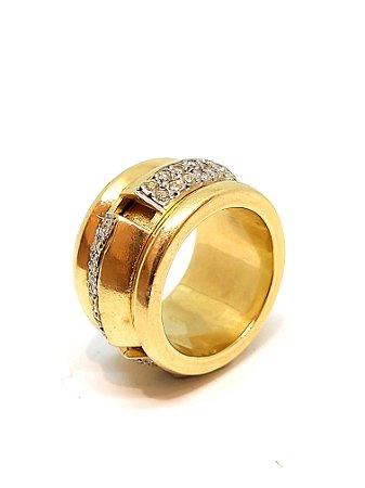 Anel de Ouro 18k Amarelo com Brilhantes