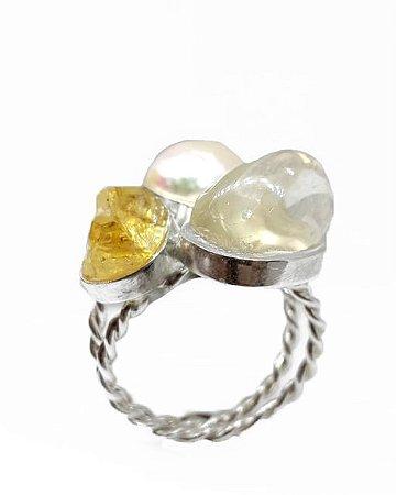 Anel de Prata com Citrino, Pérola e Cristal