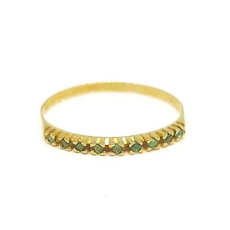 Anel de Ouro 18k Amarelo com Esmeraldas
