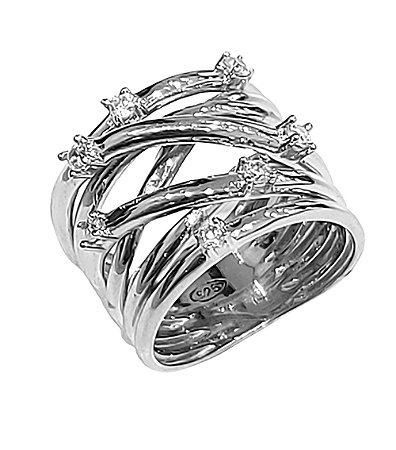 Anel de 7 fios em prata 925 com zirconias