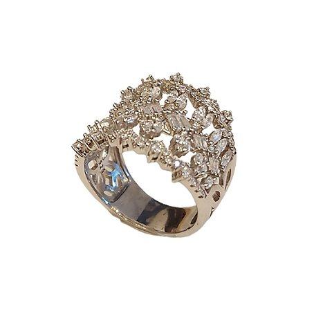 Anel em prata 925 cravejado de zirconias