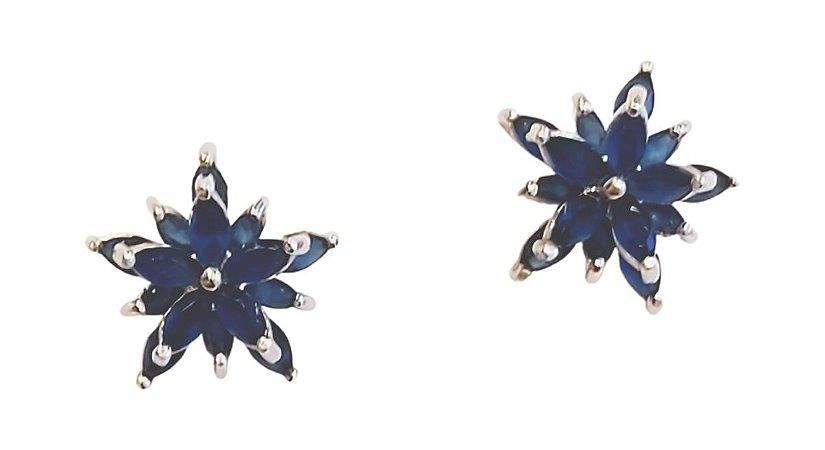 Brinco estrela em prata 925 com cristal azul