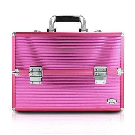 Maleta Profissional de Maquiagem Pink Tamanho Grande Jacki Design
