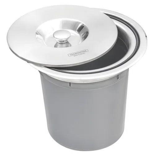 Lixeira de Embutir Tramontina Clean Round em Aço Inox com Balde Plástico 5 Litros