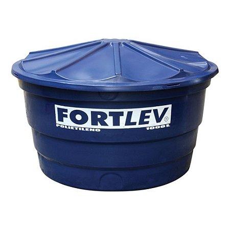 Caixa D`Água em Polietileno com Tampa 1000 Litros Azul Fortlev