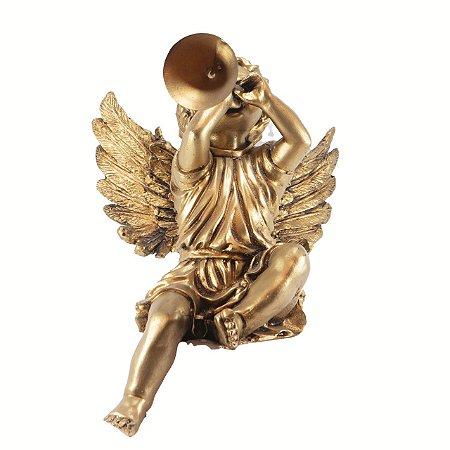 Anjo decorativo grande sentado c/ corneta m2