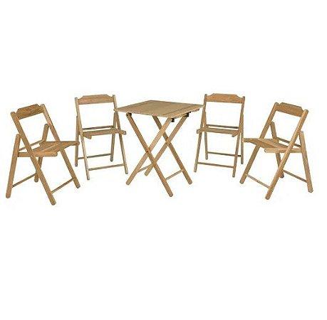 Conjunto de Cadeiras e Mesa de Madeira Tramontina Beer Dobrável em Madeira Teca com Acabamento Envernizado 5 Peças