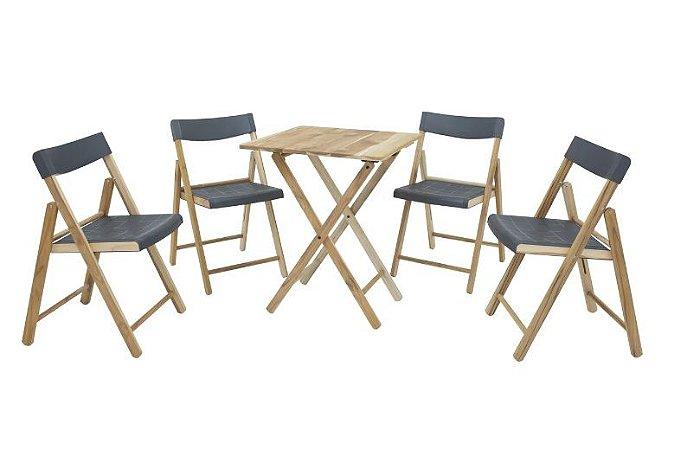 Conjunto de Cadeiras e Mesa de Madeira Tramontina Potenza Dobrável em Madeira Teca com Acabamento Natural e Polipropileno Grafite 5 Peças