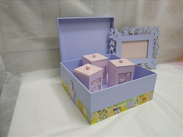 Kit bebê quadro porta maternidade, potes higiene  e caixa organizadora Menina