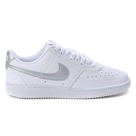 Tênis Nike Couro Court Vision Low Feminino Cor Branco/Cinza