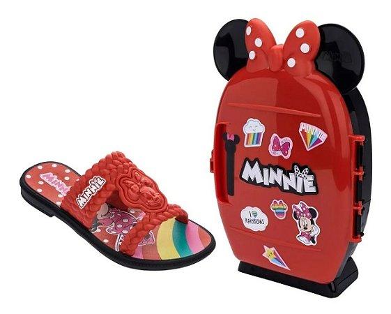 Chinelo Grendene Minnie Com Mini Geladeira Cor Vermelho