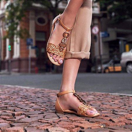 Sandália Dakota Tramados Com Pedra Feminino Cor Bege