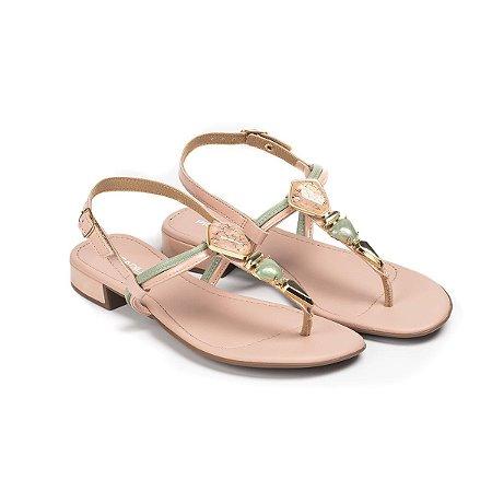 Sandália Com Salto Baixo Piccadilly Feminino Cor Rosê
