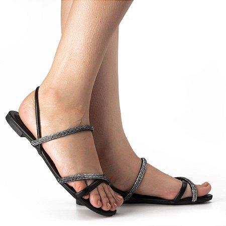 Sandália Dakota Com Salto Baixo Brilho Cor Preto