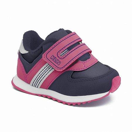 Tênis Klin Walk Infantil Feminino Cor Azul Marinho/Pink