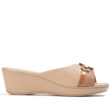 Tamanco Piccadilly Cecília Cor Nude/Trama Ocre