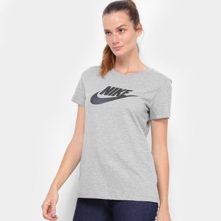 Camiseta Nike Feminina Essntl Icon Cor Cinza