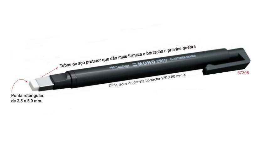 Caneta-Borracha Mono Zero 2,5 x 5 mm Ref.EHKUS Tombow