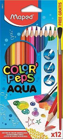 Lápis de Cor Aquarelável Pincel de Madeira Maped Color Peps  863011 12 Cores