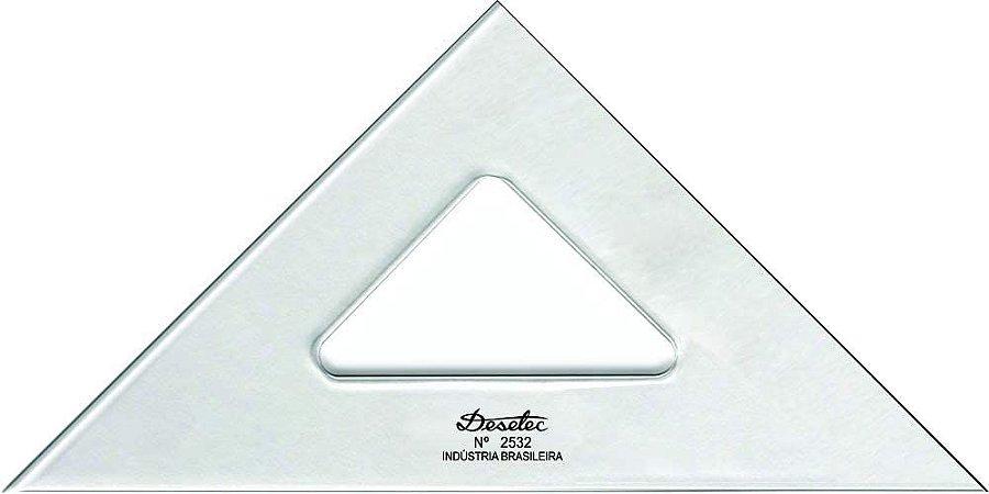 Esquadro Trident Isósceles  Acrílico Cristal 45° sem Escalas