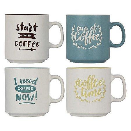 Jogo c/4 Canecas Coffee Time