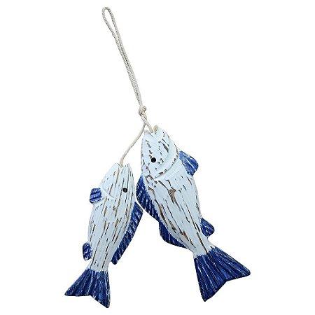 Enfeite Peixe Azul No Anzol em Madeira
