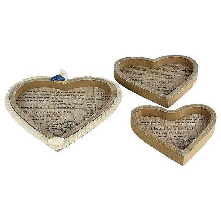 Porta Objetos Três Corações em Madeira