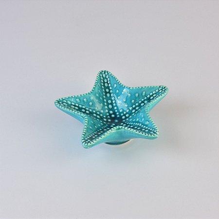 Estrela do Mar Azul Pequena em Cerâmica