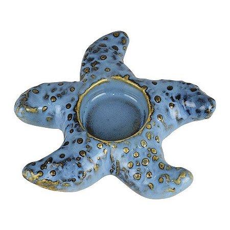 Porta Velas Estrela Azul em Cerâmica