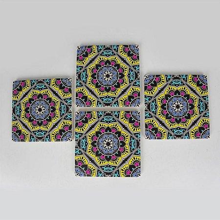 Porta Copos Mandala Jogo C/4 em Cerâmica
