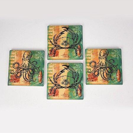 Porta Copos Verde Mar Jogo C/4 em Cerâmica