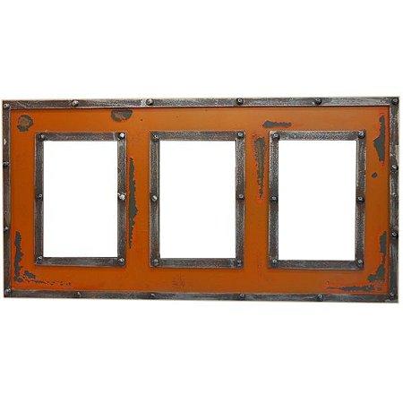 Porta Retrato Triplo Laranja em Madeira