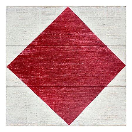 Quadro Bandeira Náutica Vermelha e Branca em Madeira