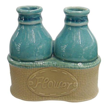 Vaso de Cerâmica Flower Azul