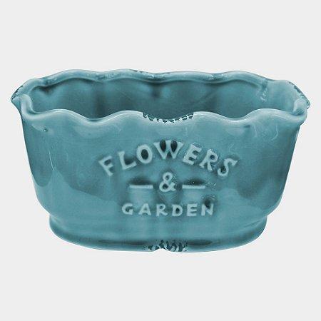 Vaso Azul Flowers em Cerâmica com Borda Ondulada