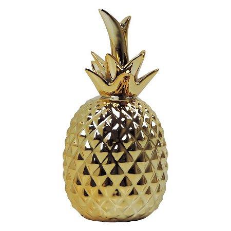 Abacaxi Decorativo de Cerâmica Dourado