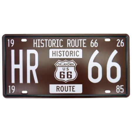 Placa Decorativa em Metal Historic 66